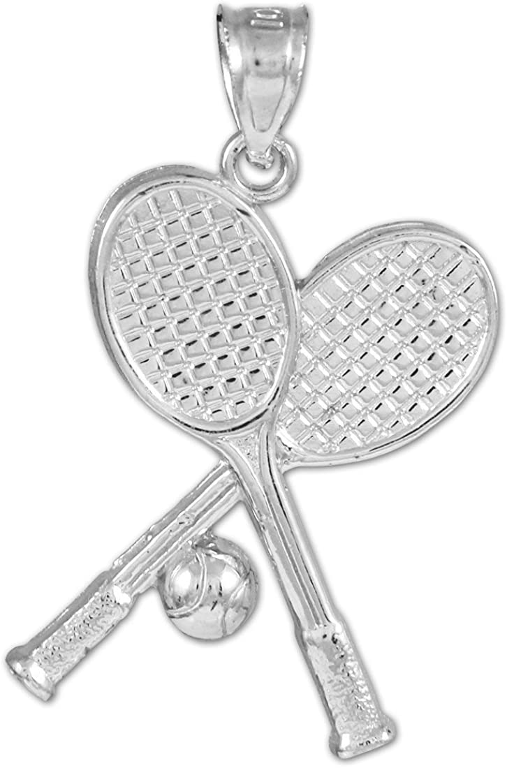 Sports Charms 10k White Ranking TOP12 Free shipping Gold Racquets and Ball Tennis Pendant