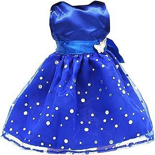 Newin Star Juquete Moda Partido sin Mangas de Las Lentejuelas Vestido Exquisito Vestido Lindo para 18 Pulgadas muñecas American Girl Azul