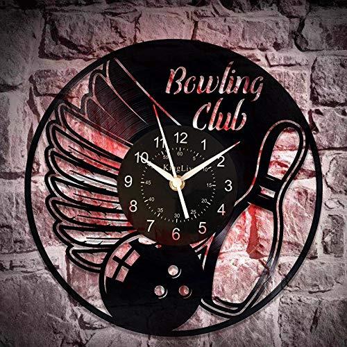 Bowling Club Geburtstagsgeschenk Idee Sport LED Vinyl Schallplatte Uhr 12 Zoll für Mann und Frau Bowling Original Home Decor Sport