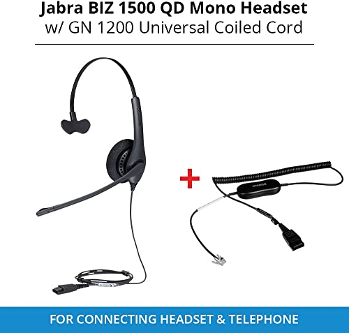 popular Jabra Biz lowest 1500 QD Mono Headset with GN 1200 Universal Coiled Smart Cord for 2021 Connecting Headset & Telephone online sale