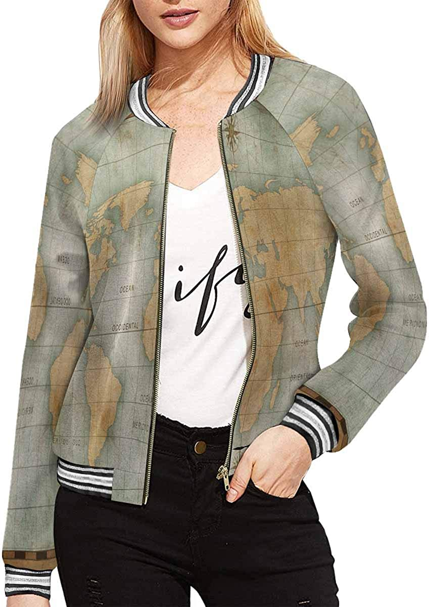 InterestPrint Women's Old Compass and Rope on Vintage Map Jacket Long Sleeve Zipper