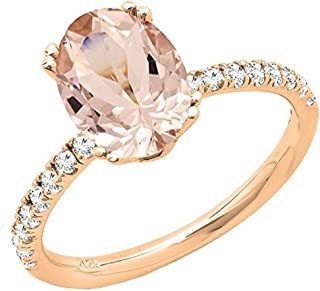14K 8X6 MM Oval Gemstone & Round Diamond Bridal Engagement Ring, Rose Gold
