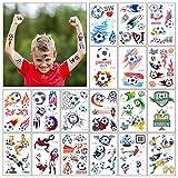 MaoXinTek Kinder Tattoo 18 Blätter Wasserdicht Fußball Temporäre Kindertattoos Aufkleber Party...