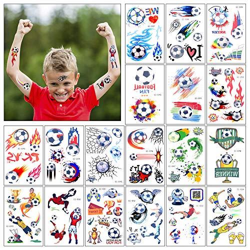 Tatuaggi temporanei per Bambini 18 Fogli Calcio Finti Adesivi Giocattoli Gadget per Ragazzi Ragazze Festa Compleanno Regalo Impermeabile Tatuaggio Temporaneo