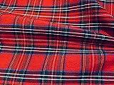 LushFabric Tartan Plaid Check Designer Fabric Curtain Tappezzeria in Cotone Materiale - Scottish Royal Stewart Red Quadri Canvas (Campione 10cm x 10cm)