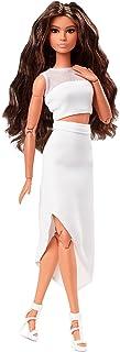 Barbie Signatur Barbie Looks docka (Brunett vågigt hår) fullt möjligt modedocka bär vit kjol och topp, present till samlare