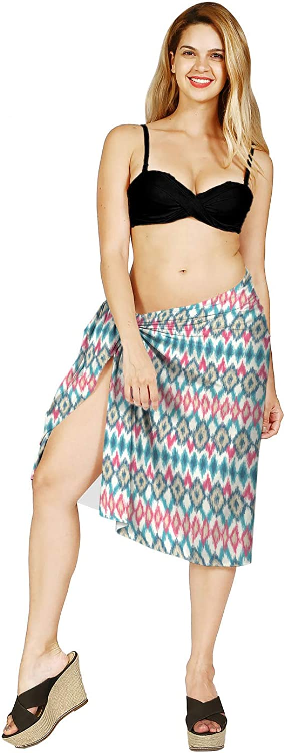 Lunarable Beach Cover Skirt, Smudged Zigzag Nomadic Art, Multicolor