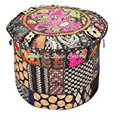Stylo Culture Pouffe Seat Vintage Large Cover Floor Pouf Cover Black Ethnic Embroidered Patchwork Cotton Traditional Round Fabric Ottoman Pouf Cover (22x22x13 Inch) 55cm