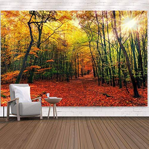 Sun Sunset Forest Tree Tapiz Colgante de pared Ropa de cama Tapiz Pintura al óleo Naturaleza Paisaje Playa Manta para dormitorio Sala de estar Dormitorio 90.5X70.8 pulgadas