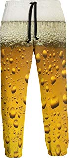 NTQFY Yellow Beer Bubbles Sweatpants for Men Durable Drawstring Pants for Jogging Gym Hiking