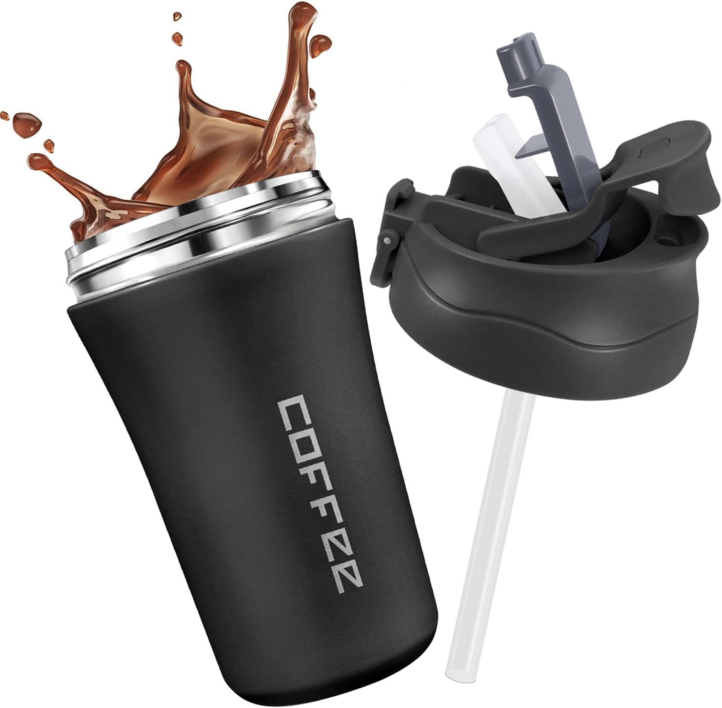 JEEZAO Taza Termico de Café 400 ml,Vaso Termo de Viaje con Pajita,Acero Inoxidable Pared Doble Aislamiento,Prueba de Fugas,Sin BPA (Negro)