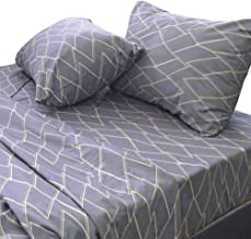 Essina 100% Cotton Super King Bed Sheet Set 4pc Kensington Collection, 620 Thread Count, Deep Pocket Super King Sheet, Lois