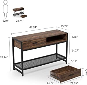Tribesigns Rustic Sofa Console Table with 2 Drawers, 47 inch Industrial Entry Table TV Stand with Storage Shelves for Living Room, Entryway, Hallway