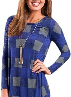 Womens Casual Long Sleeve Dress Buffalo Plaid Round Neck Mini Dress