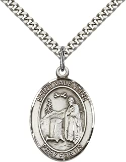 Sterling Silver St. Valentine of Rome Pendant with 24