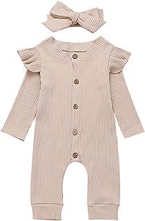 Chloefairy Mädchen Strampler Langarm Body  Stirnband Baby Overall Mädchen 0-6 Monate Bekleidung Outfit Set