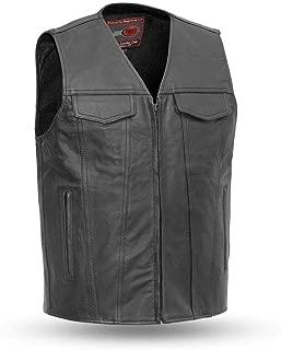 First Mfg Co Badland Men's Motorcycle Leather Vest (Black, Large)