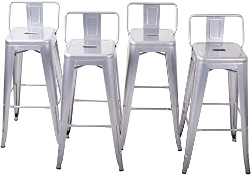 """high quality BELLEZE outlet online sale 30"""" Bar Height Stools with Backs Kitchen Bar lowest Set of (4) Steel Chair Furniture, Silver online sale"""