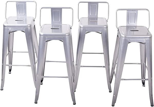 Belleze Counter 24 Height Stool W Low Backrest Kitchen Home Silver Chair Set Of 4