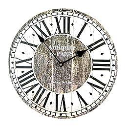 Orologio eleganti da parete design Antiquite de Paris Decorativo orologio romantico da cucina con 30 cm di diametro L'orologio muro da parete è realizzata in MDF e ha numeri romani Molto bello orologio da parete in look vintage con un movimento silen...