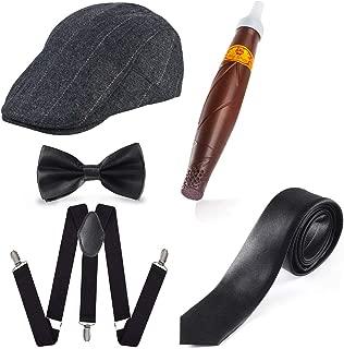 Beelittle 1920s Men Gatsby Gangster Costume Accessories Set - Beret Hat,Suspenders,Tie, Pre Tied Bow Tie,Cigar