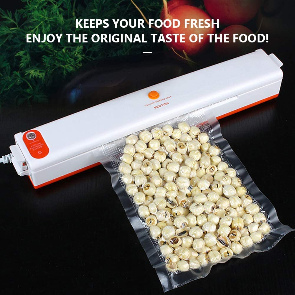 Hokaime Alimentaire des ménages Vide Scellant Repas Frais Saver Machine de Conditionnement d'air d'étanchéité à Vide Packer pour Le Stockage des Aliments,Blanc White