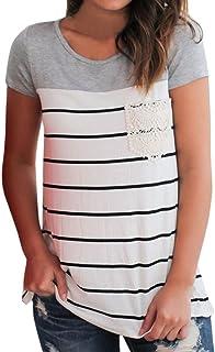 a6ad91ae76 LuckyGirls Camisetas Mujer Originales Manga Corta Rayas Encaje Bolsillo  Patchwork Casual Remeras Blusas Camisas
