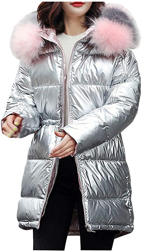 DIOMOR Fashion Glossy Puffer Down Jacket with Fur Hood for Women Casual Quilted Parkas Outdoor Glossy Anoraks Outerwear