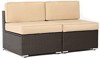 SUNCROWN Outdoor Furniture Brown Wicker Patio Sofa Chairs...