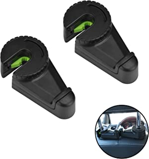 LivTee Double-head hook for headrest of automobile rear seat, 2-Pack Car Seat Organizer Accessory for Coats Umbrellas Grocery Bags Handbag & More, Black