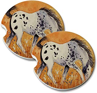 Natural Sandstone Car Drink Coasters (set of 2) - Blue Roan Appaloosa Colt with Wildflowers Horse Art by Denise Every