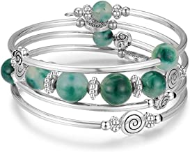 Bead Wrap Bangle Pearl Bracelet - Silver Metal Bracelet Gifts for Women
