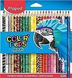 Maped - Crayons de Couleur Color'Peps Animals - crayon Triangulaire Ergonomique aux Couleurs Vives - Conforme à La Réglementation Des Jouets - Pochette de 24 Crayons en Bois Décorés Animaux