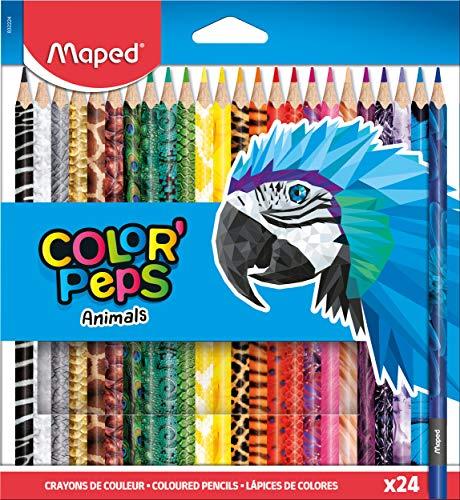Maped - 24x Buntstifte, Farbstifte COLOR'PEPS ANIMALS mit Tiermotiven, bunt