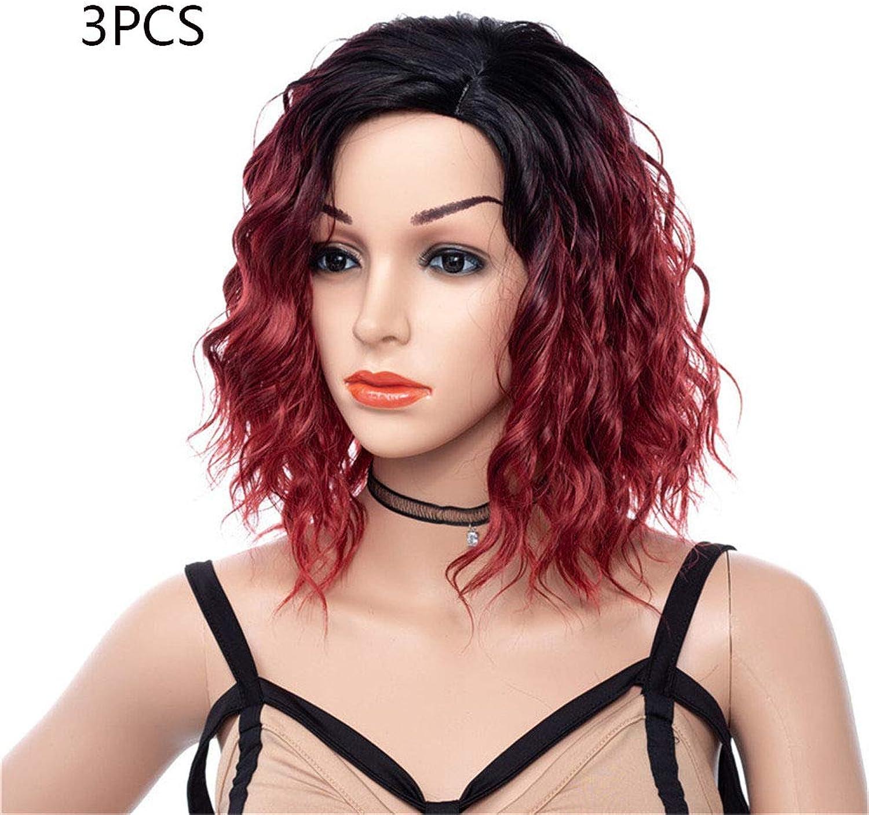 Short Paragraph Wig Hairpieces Partial Gradient color Chemical Fiber Curl Heat Resistant Fiber High Temperature Wire Costumes Accessories (3PCS)