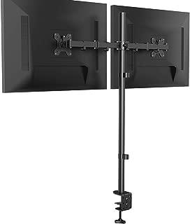 Soporte para monitor dual, totalmente ajustable, soporte para monitor con poste extra alto de 39.37 pulgadas, abrazadera y base de montaje con ojales, 2 brazos para monitor con inclinación y giro para visualización de computadora de 13 a 32 pulgadas, soporta hasta 22 libras