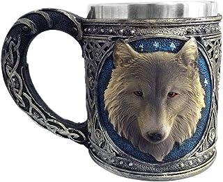 Wolf Head Mug 3D Resin Stainless Steel Water Cup Animal Drinking Mug Supply snowvirtuosau