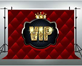 Gold VIP Backdrop for Photography Crown Red Tufted Background 7x5ft Themed Birthday Party Banner Baby Shower Decorations ZYVV0345