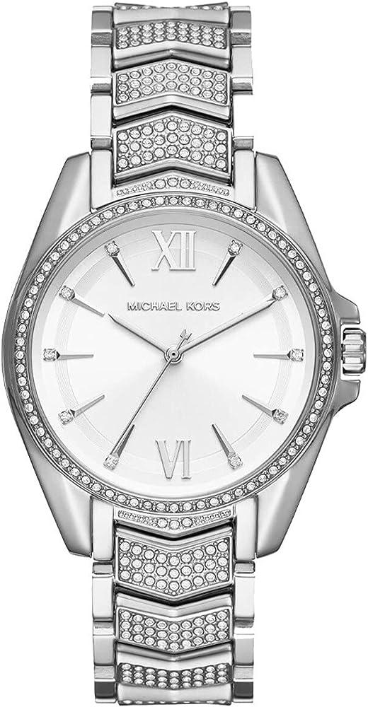 Michael kors outlet orologio da donna in acciaio inossidabile decorato con pavé in tono argento MK6687