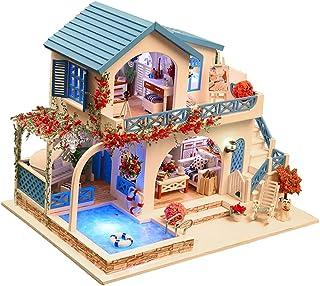 Baosity 1:24 DIY Dollhouse Handcrafts Miniature Project Kit LED Light Birthday Gift