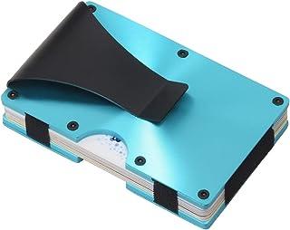 Metal Minimalist Wallets for men with Money Clip - Slim Aluminum Wallet Credit Card Holder RFID Blocking(Cd Raised Grain, Blue)