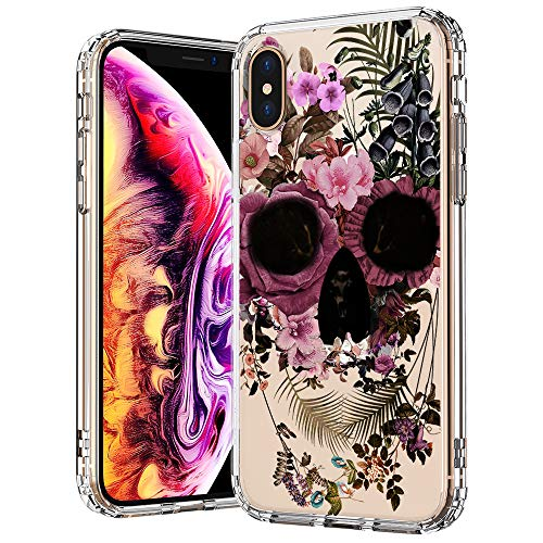 MOSNOVO Compatible for iPhone Xs Max Case, Clear Floral Skull Flower Pattern Print Design Girl Women with Transparent TPU Bumper Protective Hard Back Case Cover for iPhone Xs Max
