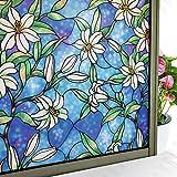 LMKJ Película de vidriera película de privacidad película de Vidrio Esmerilado Pegatinas electrostáticas Pegatinas de Vidrio película de Flores baño película para el hogar A122 45x100cm