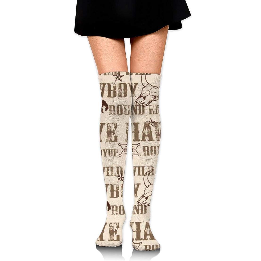 研磨剤ハンディ武器MKLOS 通気性 圧縮ソックス Breathable Extra Long Cotton Mid Thigh High Cowboy Culture Exotic Psychedelic Print Compression High Tube Thigh Boot Stockings Knee High Women Girl