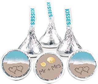 324 Beach Wedding Stickers for Hershey's Kisses Favors (324 Count) DIY Bridal Shower & Wedding Favors for Guests