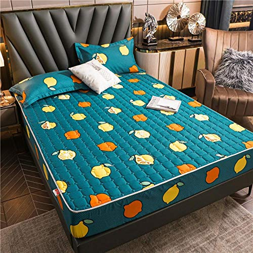 ZYNYHGS Polyesterfaser-bedrucktes Bett-Bett, Tiefe Tasche Einzelbett rutschfeste Schutzabdeckung, Blatt, weich, Anti-Shrink, Anti-Fading-Bettwäsche-Grün_90x200 + 28 cm.