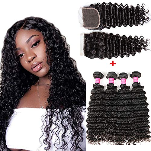 8A Unprocessed Human Hair Bundles With Closure Deep Wave Hair (22 24 26 28+20 closure,free part) Wet and Wavy Human Hair Weave Bundles With Closure Free Part Natural Black Color Laritaiya