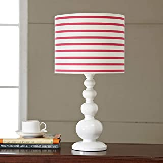 AiLi Modern Striped Cloth lamp Cover lamp, Resin Living Room Study Bedroom Bedside Fashion Home Table lamp
