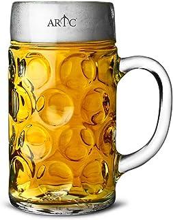 ARTC® German Beer Mug Stein 1000ml Beer Tankard, Glass Stein, Isar Stein, Handled Beer mug, Classic Beer Tankard Jumbo Size