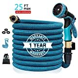 Colrasn 25ft Expandable Garden Hose, Durable Flexible Water Hose, 9 Function Spray Hose Nozzle, 3/4' Solid Brass Connectors, Extra Strength Fabric, Lightweight Expanding Hose
